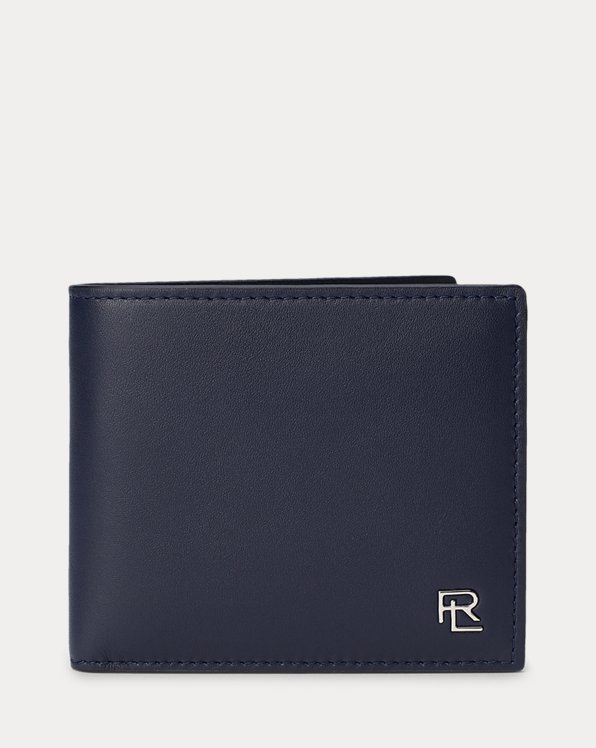 Metal-Plaque Calfskin Wallet