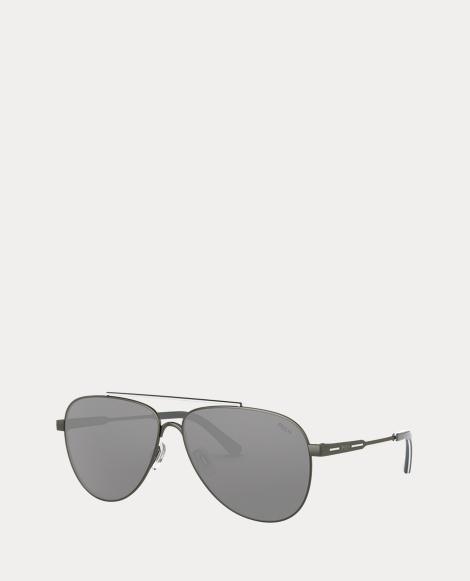 Striped Pilot Sunglasses