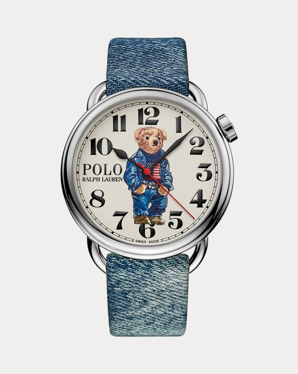 42-mm-Armbanduhr mit Denim Flag Bear