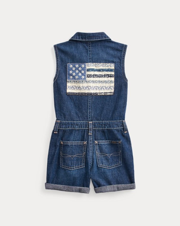 Flag Cotton Denim Romper