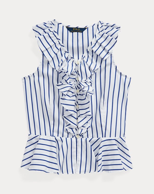 Striped Cotton Poplin Top