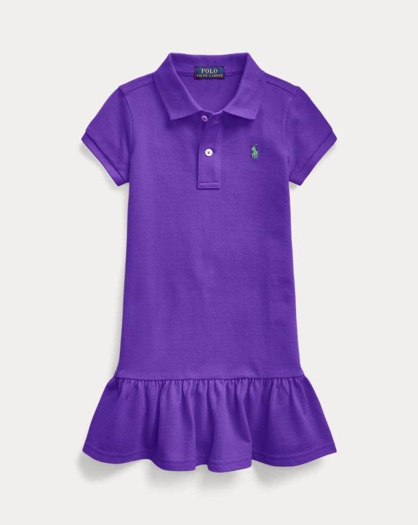 폴로 랄프로렌 여아용 원피스 Polo Ralph Lauren Cotton Mesh Polo Dress,Chalet Purple