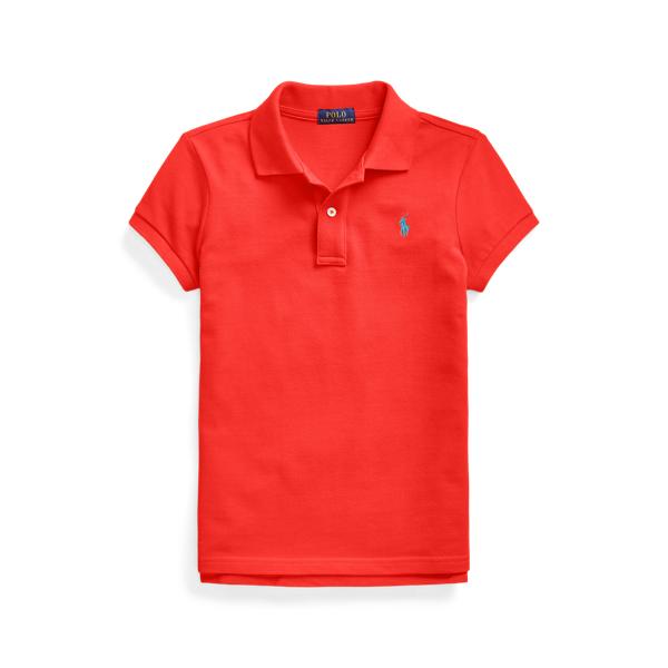 폴로 랄프로렌 걸즈 폴로티 Polo Ralph Lauren Cotton Mesh Polo Shirt,African Red