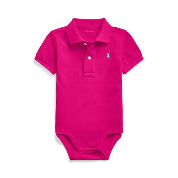 폴로 랄프로렌 베이비 아기옷 우주복  Polo Ralph Lauren Cotton Mesh Polo Bodysuit,Aruba Pink