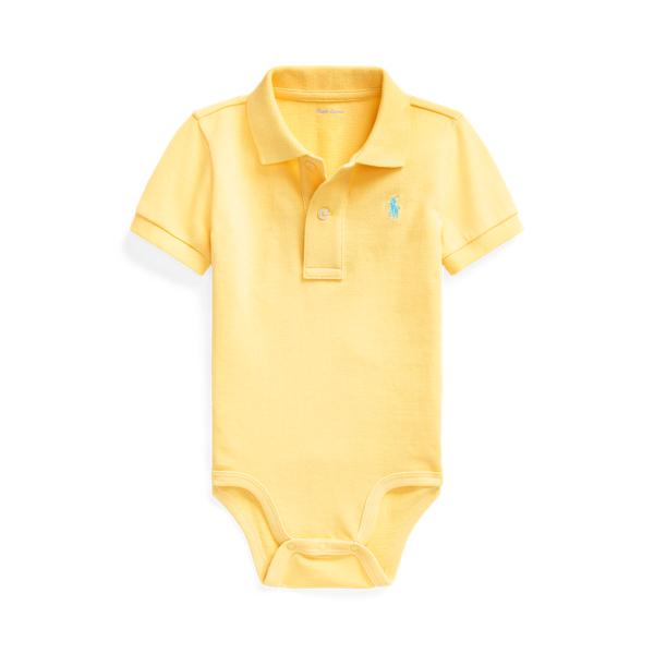 폴로 랄프로렌 베이비 아기옷 우주복  Polo Ralph Lauren Cotton Mesh Polo Bodysuit,Empire Yellow