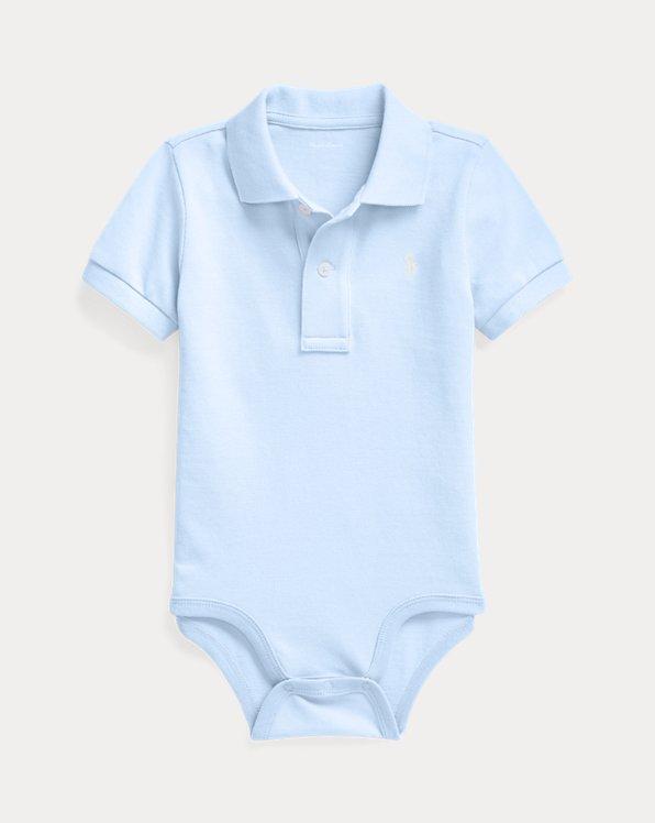 Cotton Mesh Polo Bodysuit