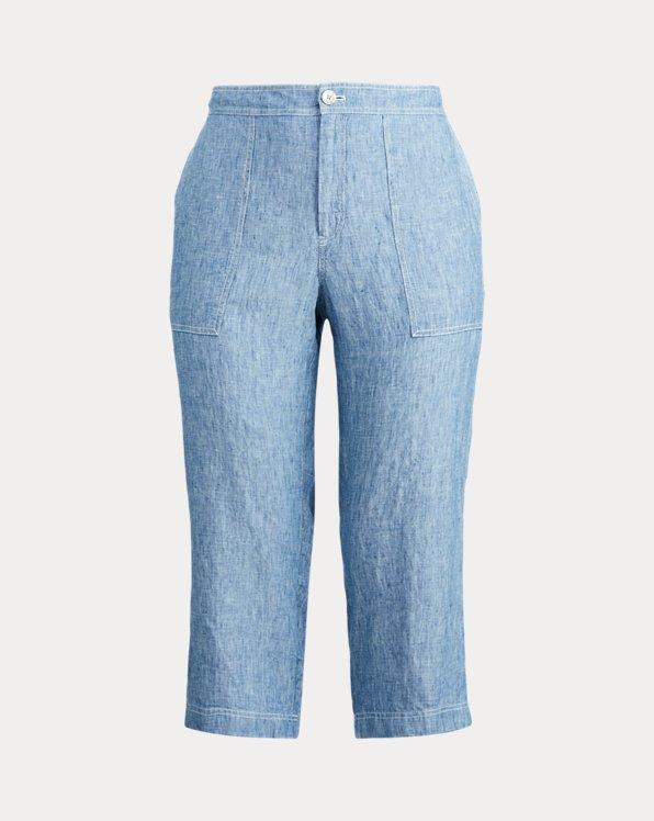 Chambray Linen Wide-Leg Pant