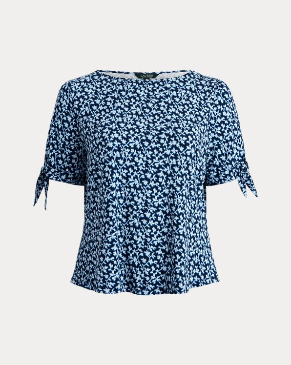 Floral Jersey Puff-Sleeve Top