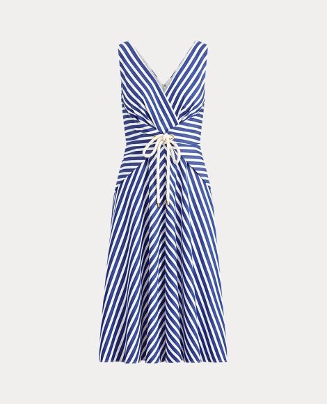 Striped Cotton Wrap Dress