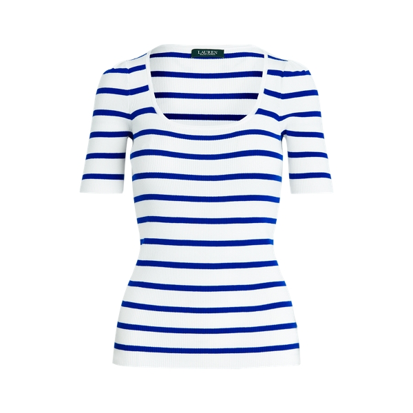 폴로 랄프로렌 Polo Ralph Lauren Striped Puff-Sleeve Top,White/Heritage Royal
