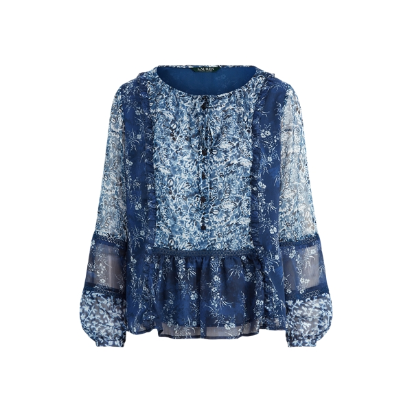 폴로 랄프로렌 Polo Ralph Lauren Floral Georgette Peplum Top,Blue Multi