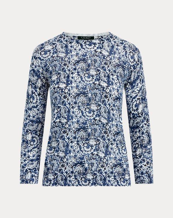 Floral Cotton-Linen Jumper