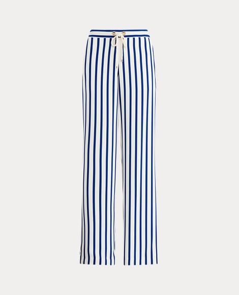 Striped Satin Wide-Leg Pant