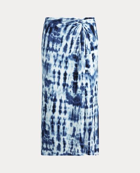 Tie-Dye Linen-Blend Skirt