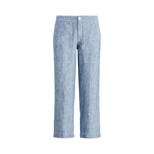 폴로 랄프로렌 Polo Ralph Lauren Chambray Wide-Leg Linen Pant,Blue