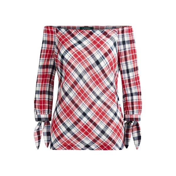 폴로 랄프로렌 Polo Ralph Lauren Plaid Off-the-Shoulder Top,Red Multi