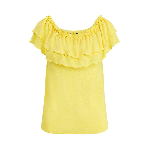 폴로 랄프로렌 Polo Ralph Lauren Linen Off-the-Shoulder Top,Hampton Yellow