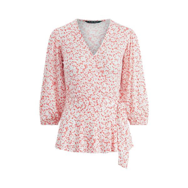 폴로 랄프로렌 Polo Ralph Lauren Floral Faux-Wrap Jersey Top,Island Hibiscus Multi