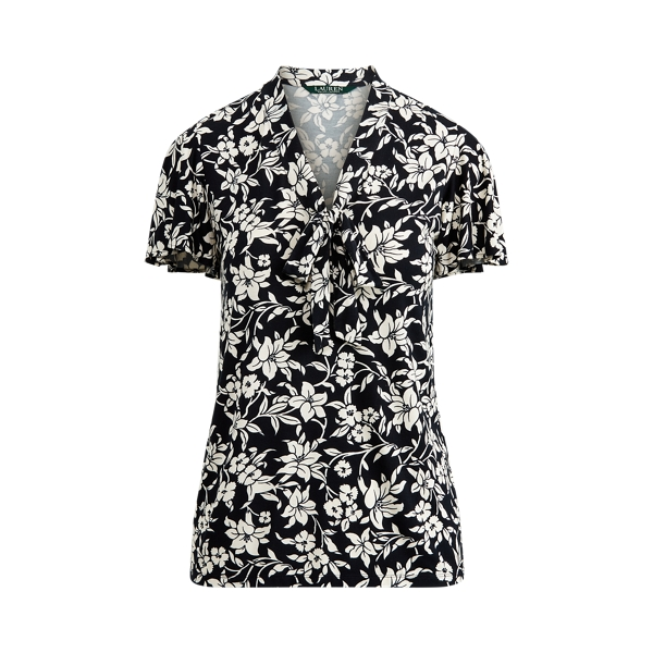 폴로 랄프로렌 Polo Ralph Lauren Tie-Neck Floral Jersey Top,Lauren Navy/Mascarpone Cr