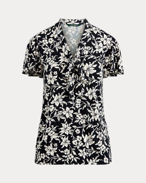 Maglia in jersey a fiori con fiocco