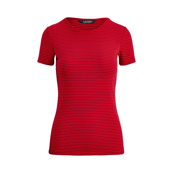 폴로 랄프로렌 Polo Ralph Lauren Striped Cotton-Blend Tee,Orient Red/Navy