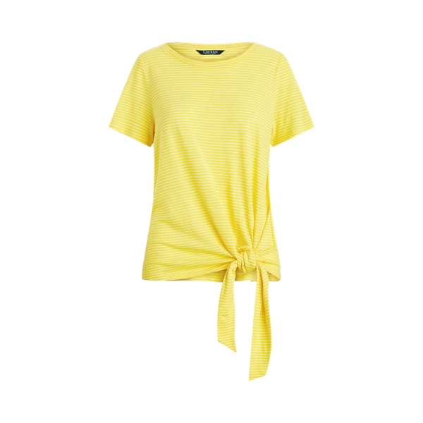 폴로 랄프로렌 Polo Ralph Lauren Tied-Hem Jersey Tee,Yellow/White