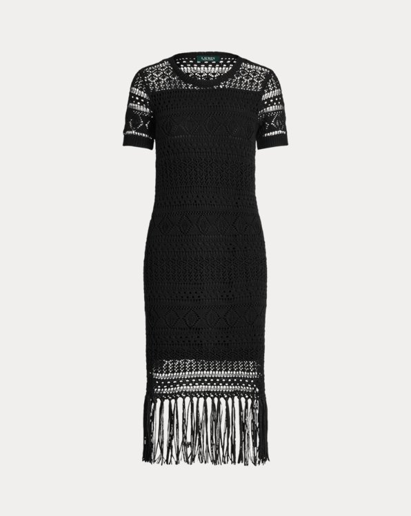 Kurzärmliges Kleid mit Lochmuster
