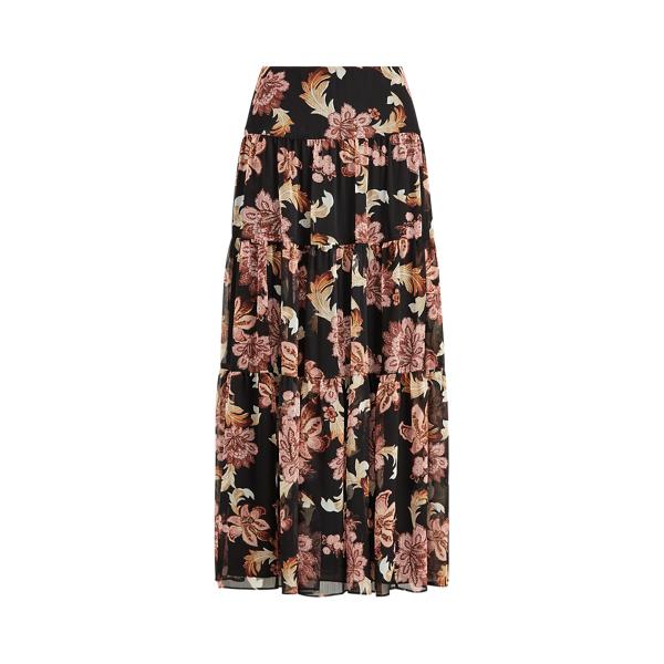 폴로 랄프로렌 Polo Ralph Lauren Floral Tiered Peasant Skirt,Polo Black Multi