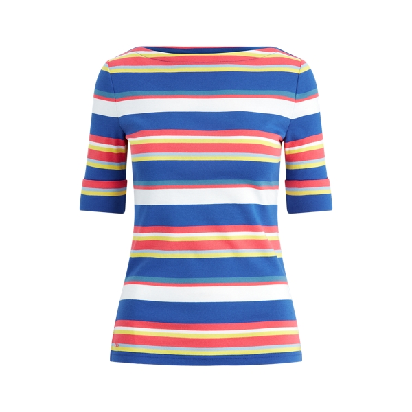 폴로 랄프로렌 Polo Ralph Lauren Striped Cotton Top,Heritage Royal Multi