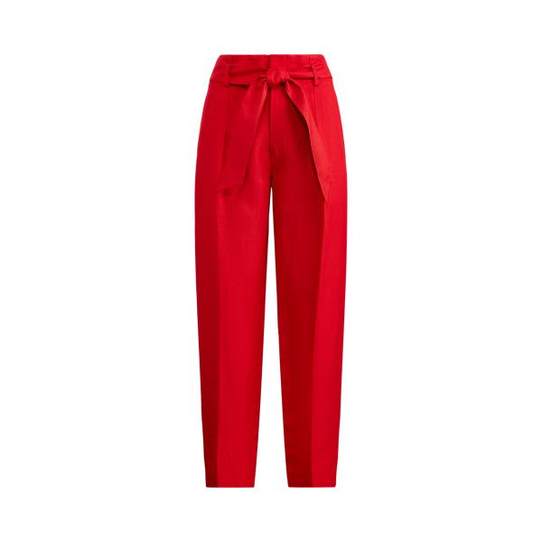 폴로 랄프로렌 Polo Ralph Lauren Linen-Twill Cropped Pant,Orient Red