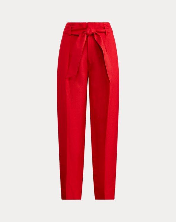Pantalon7/8 en sergé et lin