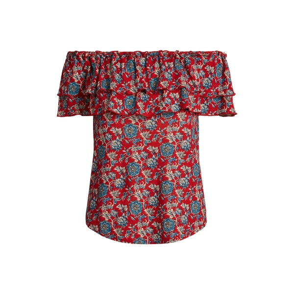 폴로 랄프로렌 Polo Ralph Lauren Floral Off-the-Shoulder Top,Red Multi