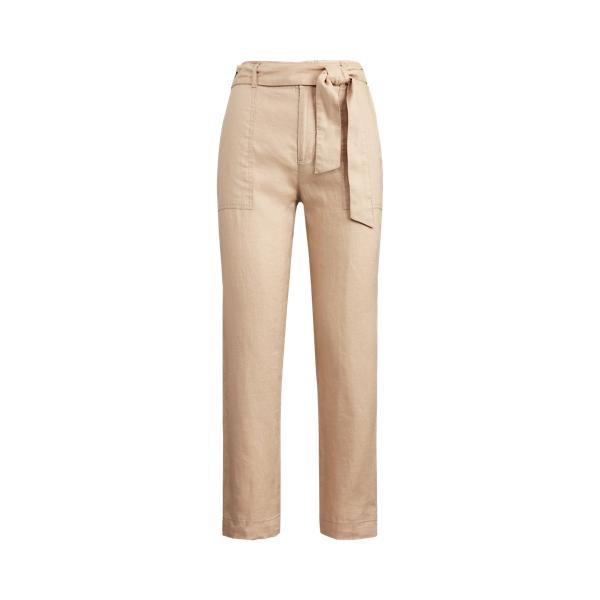 폴로 랄프로렌 Polo Ralph Lauren Belted Linen Pant,Birch Tan