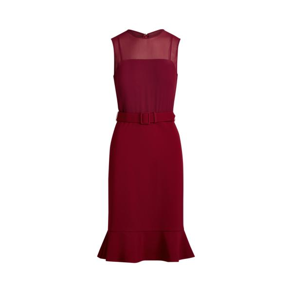 Belted Georgette-Jersey Dress