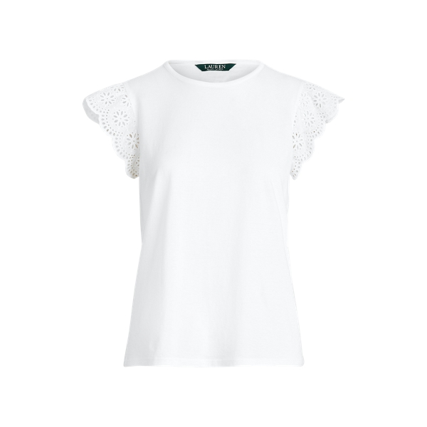 폴로 랄프로렌 Polo Ralph Lauren Cotton Ruffle-Sleeve Tee,White