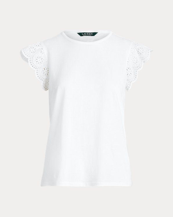 Cotton Ruffle-Sleeve Tee