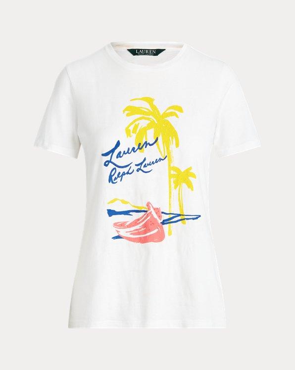 T-shirt à motif en coton mélangé
