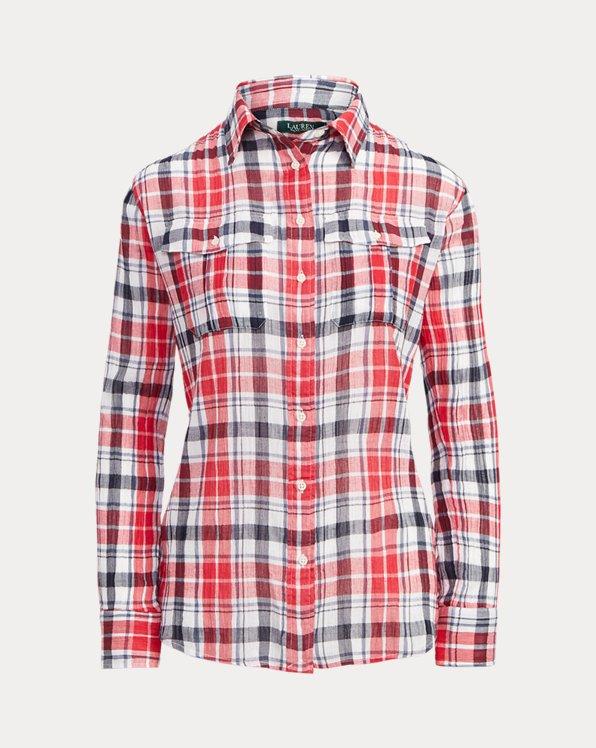 Plaid Crinkle Cotton Shirt