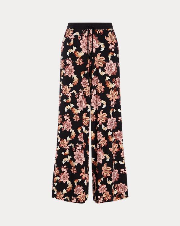 Print Jersey Wide-Leg Trouser