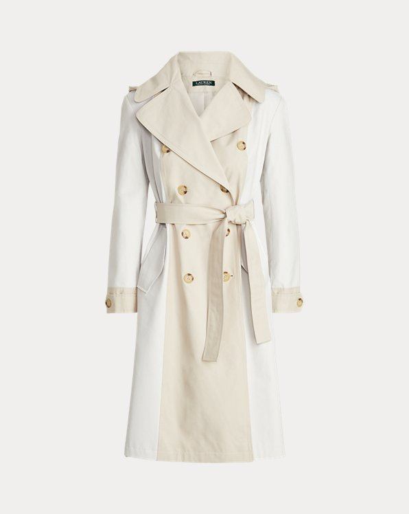 Two-Tone Hooded Trench Coat