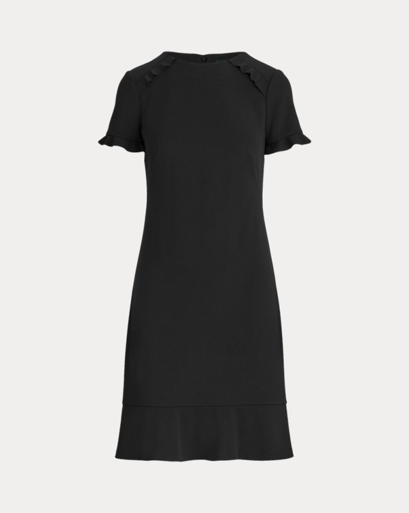 Crepe Short-Sleeve Dress