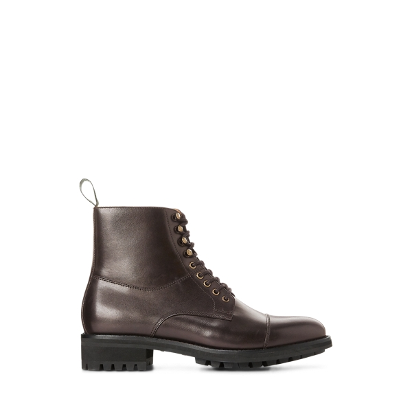 폴로 랄프로렌 부츠 Polo Ralph Lauren Bryson Cap-Toe Leather Boot,Dark Brown