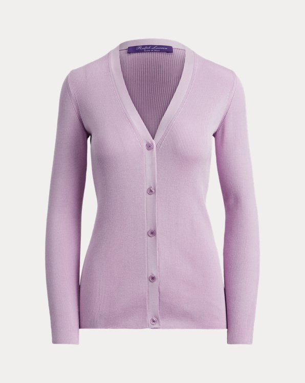 Rib-Knit Silk Cardigan