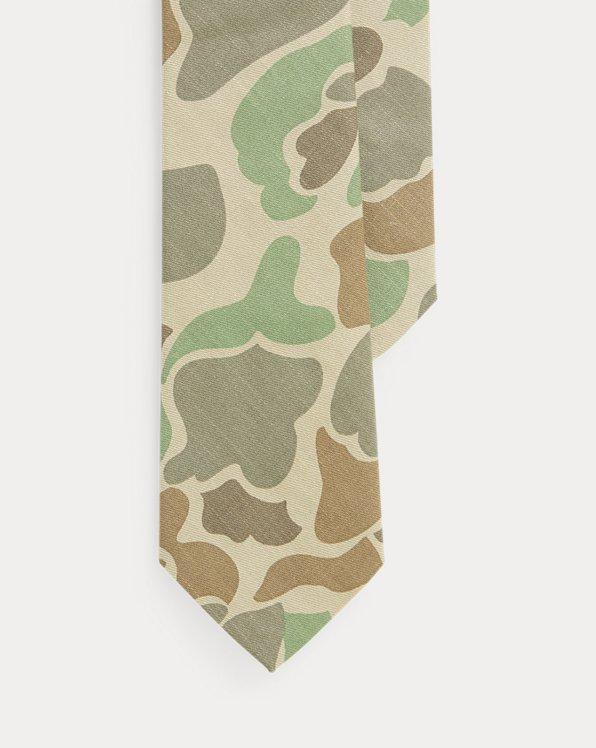 Cravate étroite camouflage en coton