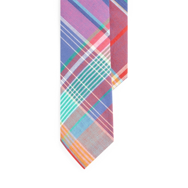 폴로 랄프로렌 마드라스 넥타이 Polo Ralph Lauren Cotton Madras Narrow Tie,Red Multi