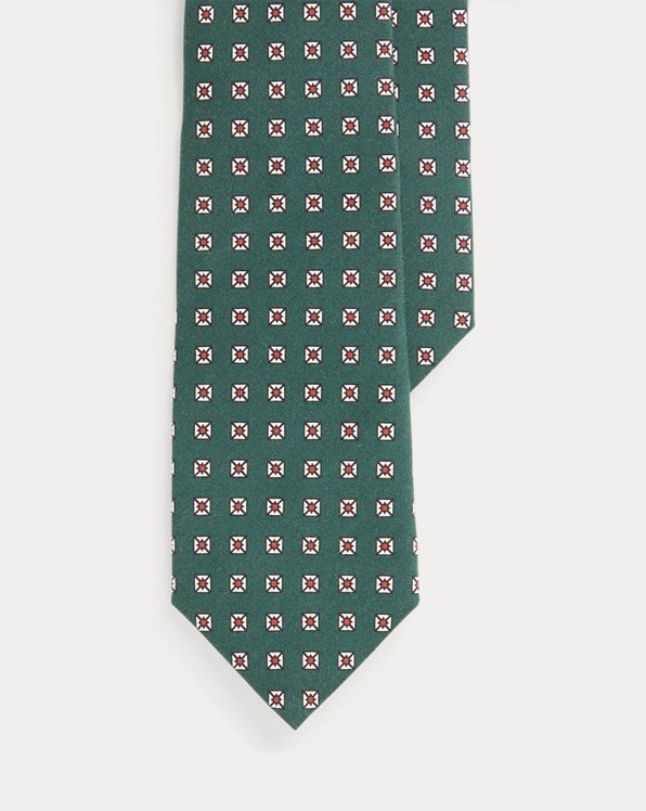 Neat-Print Silk Narrow Tie