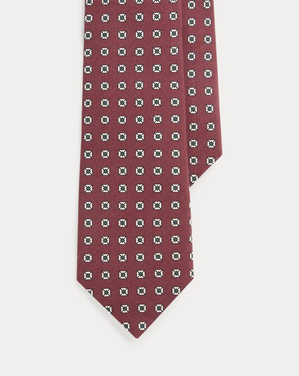Neat-Print Silk Narrow Tie