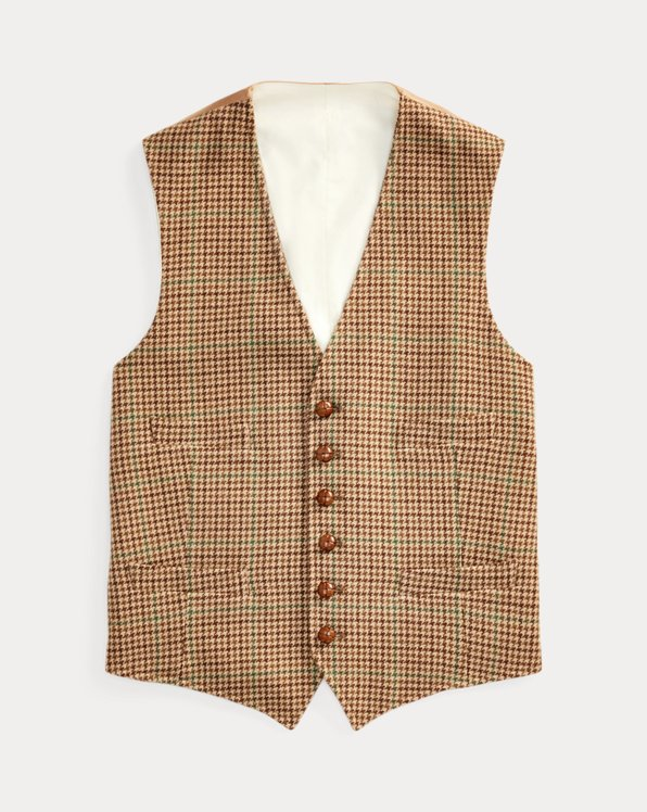 Checked Wool-Blend Vest