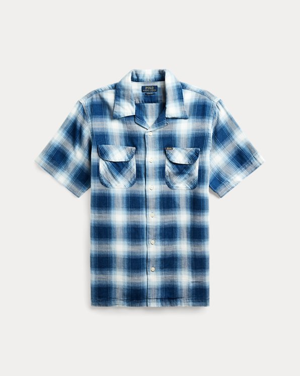 Classic Fit Indigo Plaid Shirt