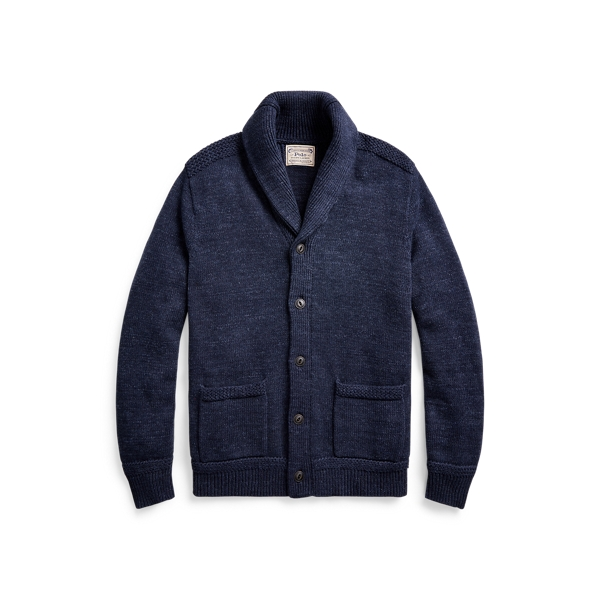 폴로 랄프로렌 Polo Ralph Lauren Cotton Shawl-Collar Cardigan,New Navy Ragg